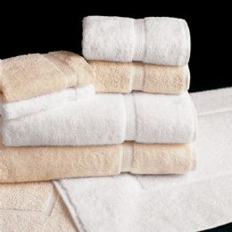 12 Units of Deluxe Size Heavy Weight White And Ecru Colored Bath Towel Size 27x50 - Bath Towels
