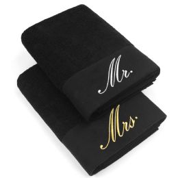 12 Units of Embrodiered Cotton Bath Towels In Black Size 30x58 - Bath Towels