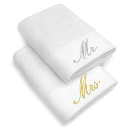 12 Units of Embrodiered Cotton Bath Towels In White Size 30x58 - Bath Towels