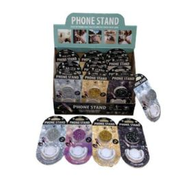 24 Units of Collapsible Phone/Tablet Grip and Stand [Glitter] - Cell Phone Accessories
