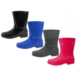 24 Units of Youth's Water Proof Soft Plain Rubber Rain - Girls Boots