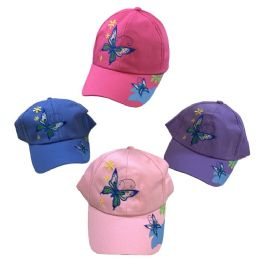 24 Units of Girl's Embroidered Ball Cap ( Butterflies) - Baseball Caps & Snap Backs