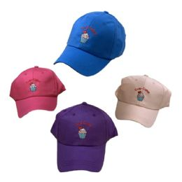 24 Units of Girl's Embroidered Ball Cap ( Cup Cakes ) - Baseball Caps & Snap Backs