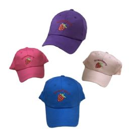 24 Units of Girl's Embroidered Ball Cap ( Strawberry ) - Baseball Caps & Snap Backs
