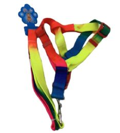 """24 Units of Rainbow Dog Harness With 48"""" Leash - Pet Accessories"""