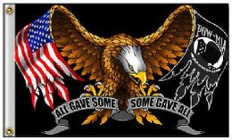 24 Units of 3'x5' Eagle Flag with Flag/POW Wings - Flag