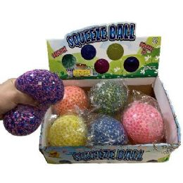 """24 Units of 4"""" Squish Jelly Ball with Foam Beads - Balls"""