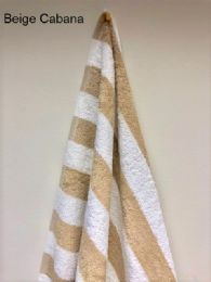 12 Units of Monarch Beige And White Cabana Striped Beach Towel Size 30x70 - Beach Towels