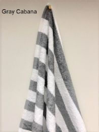 12 Units of Monarch Gray And White Cabana Striped Beach Towel Size 30x70 - Beach Towels
