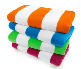 24 Units of 30x60 100 Percent Cotton Terry/Velour 1 side Beach Towel - Beach Towels