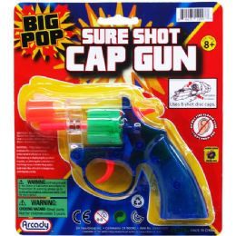 "96 Units of 6"" CLEAR MULTI-COLOR CAP TOY GUN(REVOLVER) ON BLISTER CARD - Toy Weapons"