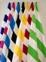 6 Units of Luxury Quality Cabana Stripes Soft Cabana Striped Beach Towel In Aqua And White - Beach Towels