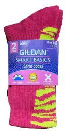 60 Units of Gildan Smart Basics Crew Socks , Girls Shoe Size 10.5-4 - Girls Crew Socks