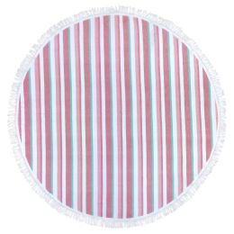12 Units of Round Beach Towels In Pink 100 Percent Cotton 60x60 Round - Beach Towels
