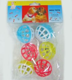 60 Units of 6pc. Ball With Bell - Pet Toys