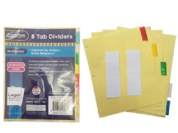 "144 Units of Tab Index Dividers 8pcs 8.5' X11"" - Labels ,Cards and Index Cards"
