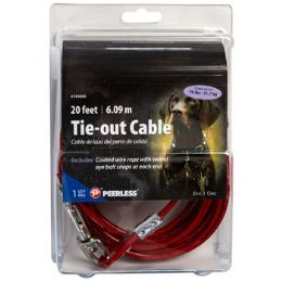 24 Units of Dog Tie-out Cable With 2 Swivel Snaps 20 Feet Peerless - Pet Collars and Leashes