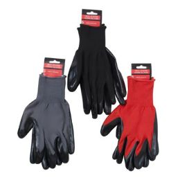 48 Units of Gloves Work Nitrile Coated Red/grey/black Hrdw Tcd - Hardware Products