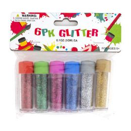 36 Units of Glitter 6pk Mini Tubes 6ast Colors 3g 0.1oz Appx/pbh - Arts & Crafts