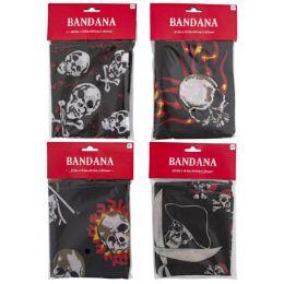 48 Units of Bandana Pirate 4ast Prints Polyester - Bandanas