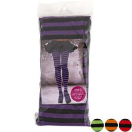 48 Units of Tights Adult Striped 4ast Colors - Costumes & Accessories