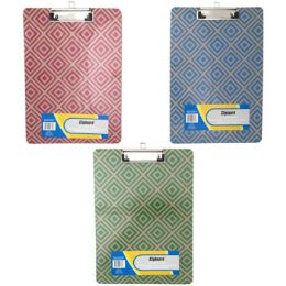 36 Units of Clipboard 9x12 Chipboard W/color Pattern W/flatclip - Clipboards and Binders