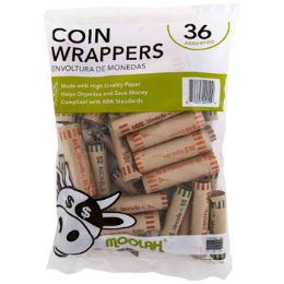 50 Units of Coin Wrappers - Assorted 36ct - Coin Holders & Banks