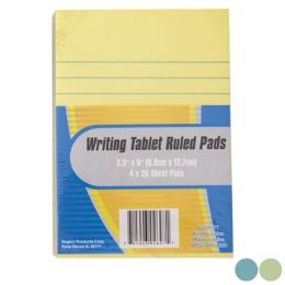 36 Units of Writing Tablet Ruled 4pk 35sheet Pads 3ast Colors/3.5x5in - Notebooks