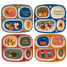 48 Units of Melamine Kids Harvest Dinnerware 4ast Rectangle Shape Plate - Plastic Dinnerware