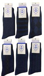 240 Units of Yacht & Smith Men's Navy Textured Dress Socks Size 10-13 BULK PACK - Men's Socks for Homeless and Charity
