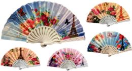 24 Units of Flower with Butterfly Handfan - Novelty Toys