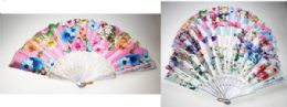 24 Units of White Hand Fan with Bright Flower Prints - Novelty Toys