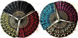 24 Units of Hand Fan with Sequins Flower Pattern - Novelty Toys