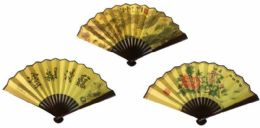 24 Units of Wood Paper made Chinese Fan - Novelty Toys