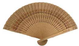 24 Units of Wood Fan with Flower design - Novelty Toys