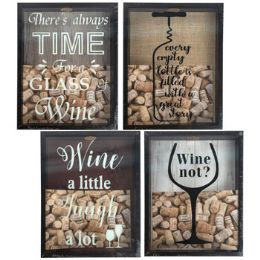 8 Units of Cork Saver Shadow Box 4ast Wine Prints - Picture Frames