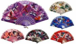 24 Units of Hand Fan with Butterfly Design - Novelty Toys