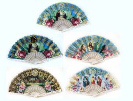 24 Units of Religious Christian Hand Fan with Glitters - Novelty Toys