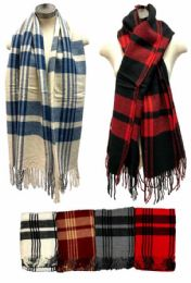 24 Units of Plaid Scarves Assorted Colored - Head Wraps