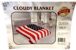 24 Units of One Ply American Flag Queen size Blanket - Fleece & Sherpa Blankets