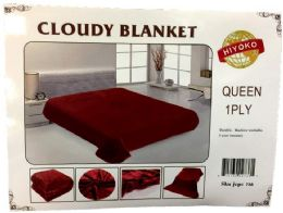 24 Units of One Ply Plain Red Color Queen size Blanket - Fleece & Sherpa Blankets