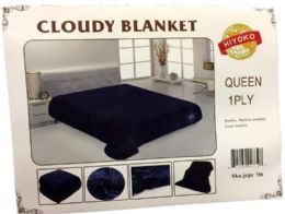 24 Units of One Ply Plain Dark Blue Color Queen size Blanket - Fleece & Sherpa Blankets
