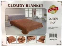 24 Units of One Ply Plain Brown Color Queen size Blanket - Fleece & Sherpa Blankets