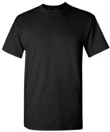 24 Units of Men's Gildan First Quality Cotton Crew Neck Black T Shirts Size 4XL - Mens T-Shirts