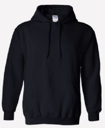 12 Units of Men's Blank Black Gildan Cotton Pull Over Hoody Fleece - Lined Size L - Mens Sweat Shirt
