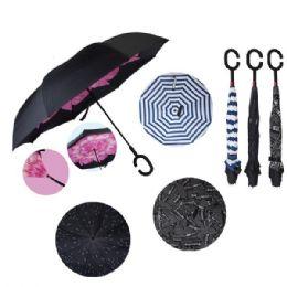24 Units of Windproof Reverse Folding Umbrella [Assorted Prints] - Umbrellas & Rain Gear