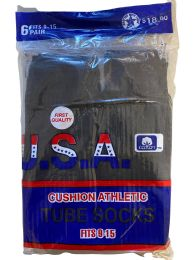 240 Units of Usa Men's Sport Tube Socks, Referee Style, Size 9-15 Solid Black Bulk Buy - Men's Socks for Homeless and Charity