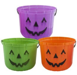 24 Units of Bucket Pumpkin Molded Plastic - Halloween & Thanksgiving