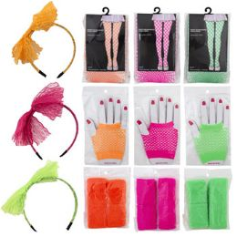 72 Units of Assorted 80's Fashion Neon Costume Set Fish Net Style Accessories - Halloween & Thanksgiving