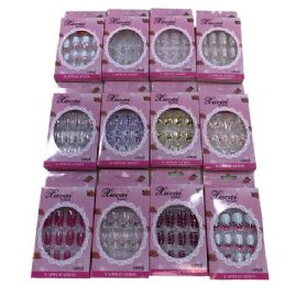 12 Units of Fashion Nails [Asst Prints] Pink Package - Nail Polish